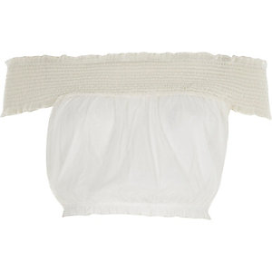 White mesh shirred bardot crop top