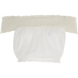 Crop top Bardot en tulle blanc à fronces