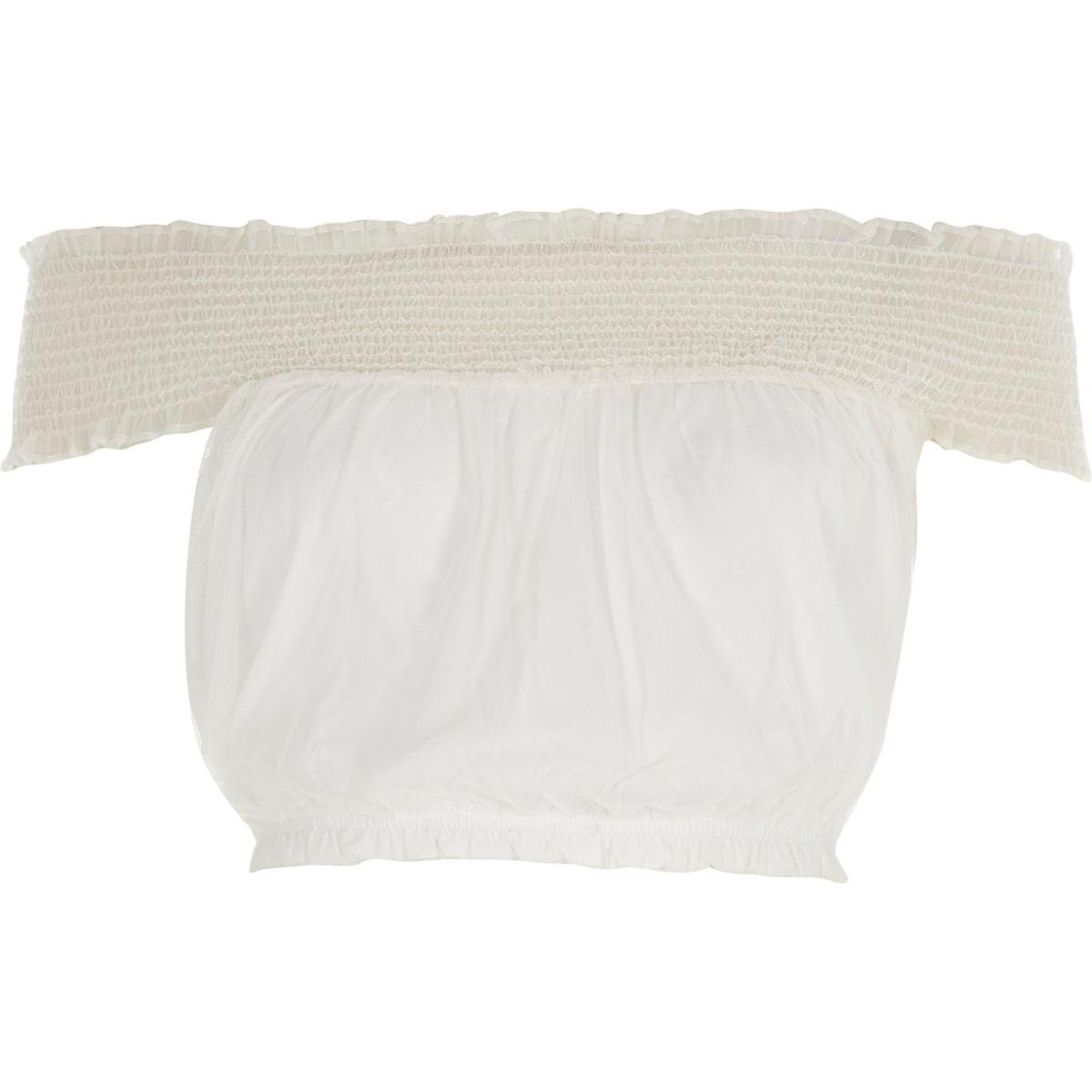 White mesh shirred bardot crop top