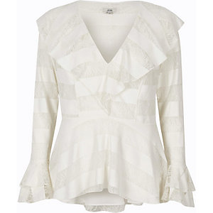 Cream lace frill sleeve top