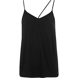 Black asymmetric strap cami top