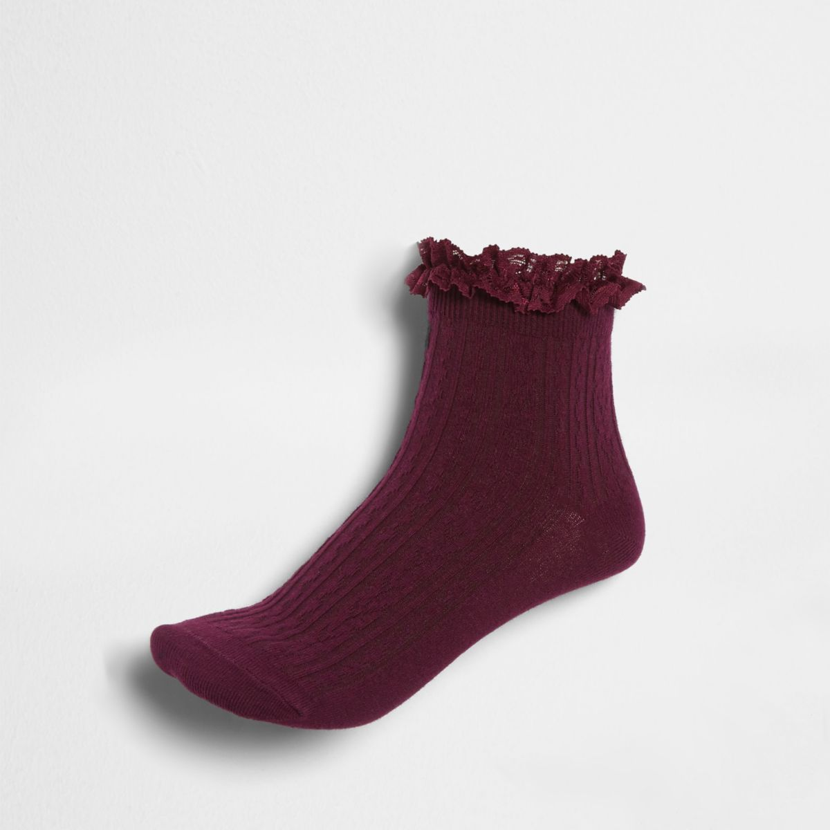 Dark red cable knit frill ankle socks