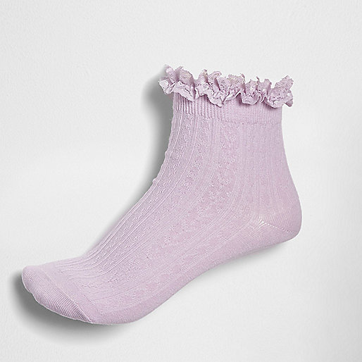 Light purple cable knit frill ankle socks