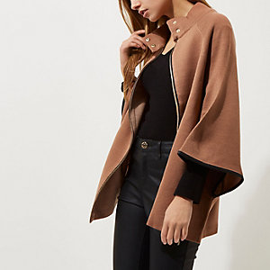 Tan cape sleeve funnel neck knit cape