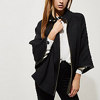 Black cape sleeve funnel neck knit cape