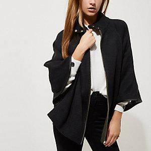 Black cape sleeve funnel neck knit jacket