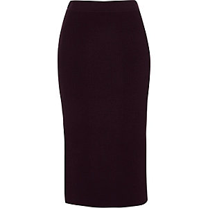 Purple ribbed pencil skirt