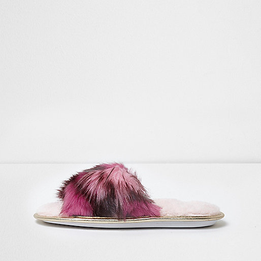 Pink multi faux fur slider slippers