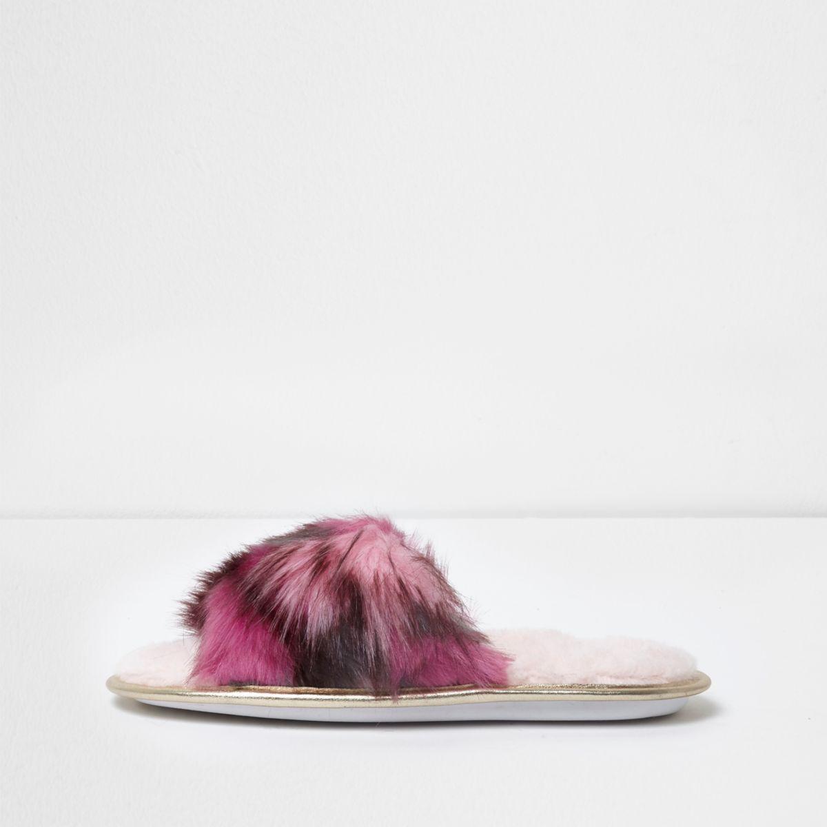 Pink multi coloured fluffy slider slippers