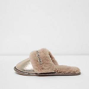 Light brown metallic faux fur mule slippers