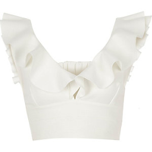 White frill shoulder bralet