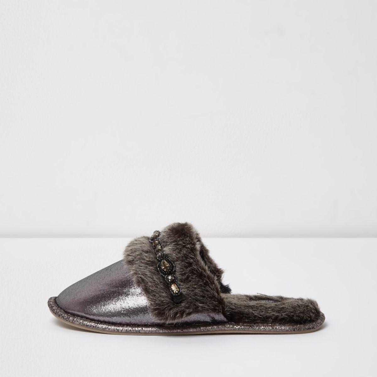 Silver metallic diamante trim mule slippers