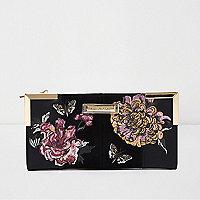 Zwarte geborduurde uitvouwbare portemonnee met bloemenprint