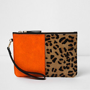 Orange and leopard print leather clutch bag
