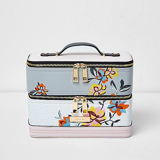 White floral embroidered vanity case