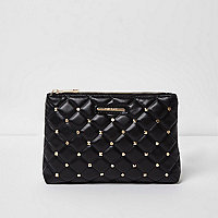Black quilted studded make up bag