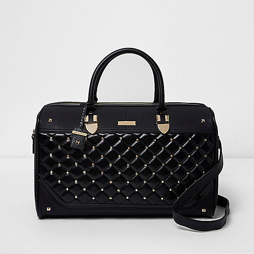 Black quilted studded weekend bag