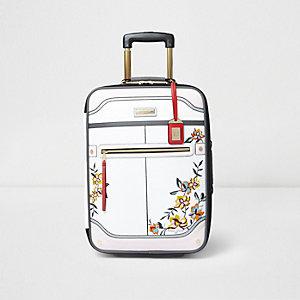 Valise de cabine blanche à fleurs brodées