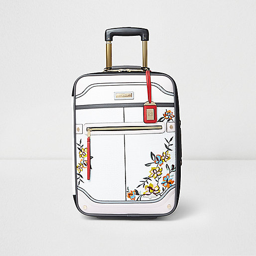 White floral embroidered cabin suitcase