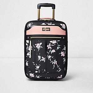Zwarte cabinekoffer met bloemenprint