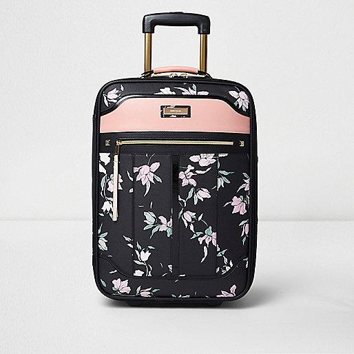 Valise de cabine à fleurs noire
