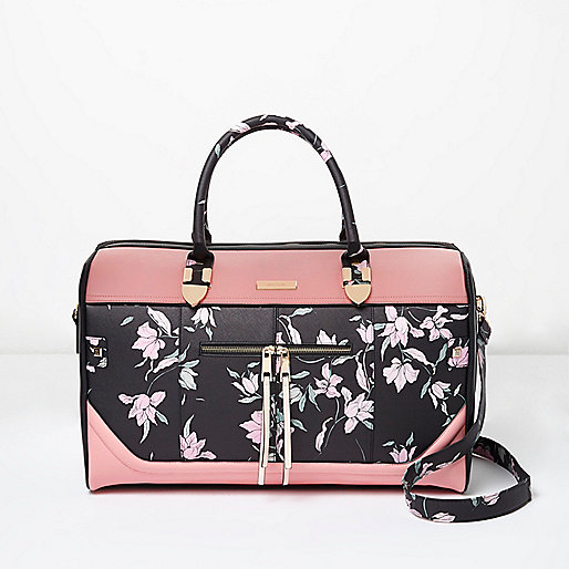 Black floral print zip front weekend bag