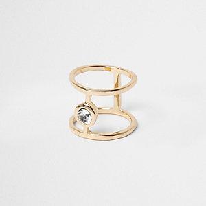 Goudkleurige ring met siersteentjes