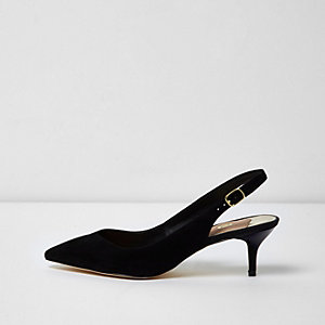 Black slingback kitten heel pumps
