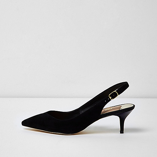 Black slingback kitten heel court shoes