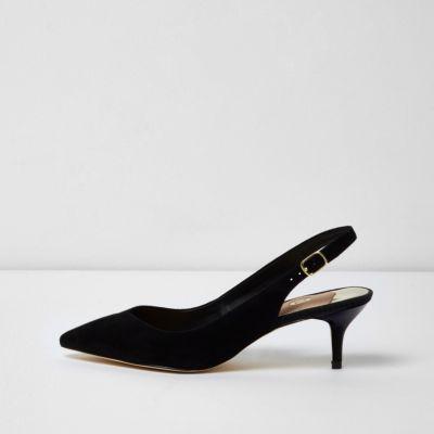 Black Slingback Kitten Heels 4dNdlooz