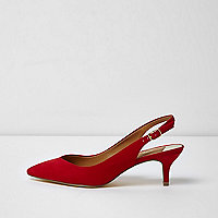 Red slingback kitten heel shoes
