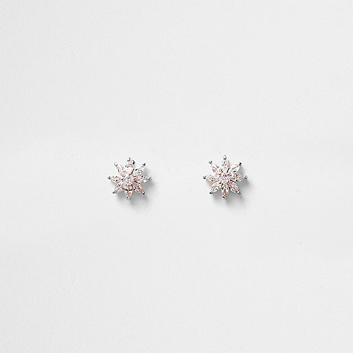 Rose gold tone cubic zirconia stud earrings