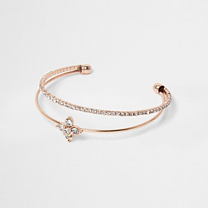 Rose gold tone rhinestone cuff bracelet