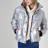 Wattierte Jacke in Silber-Metallic