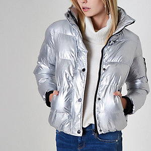 Silver metallic puffer jacket