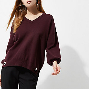 Dark purple knit cut out sweater
