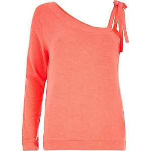 Coral one shoulder tie strap sweatshirt
