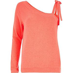 Koraalrood sweatshirt met één schouderbandje met strik