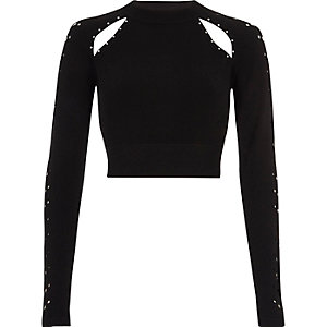 Black knit cut out studded crop top