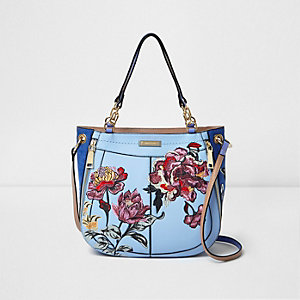 Blue floral embroidered scoop tote bag