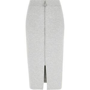 Grey marl zip front pencil skirt