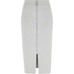 Jupe crayon gris chiné zippée sur le devant