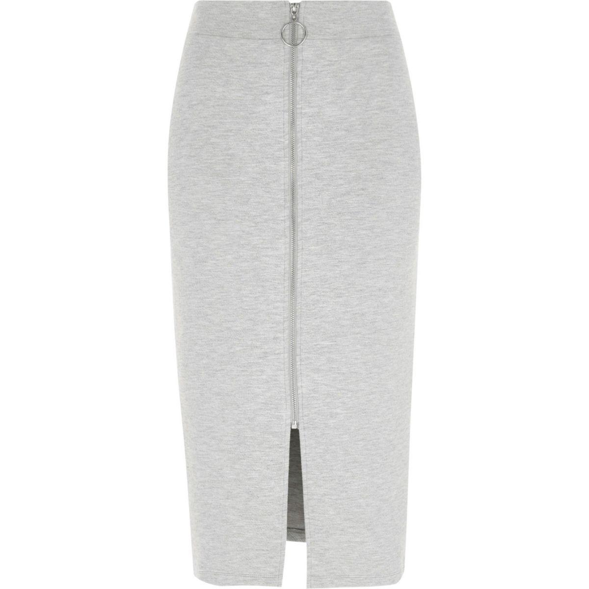 Grey marl zip front pencil skirt