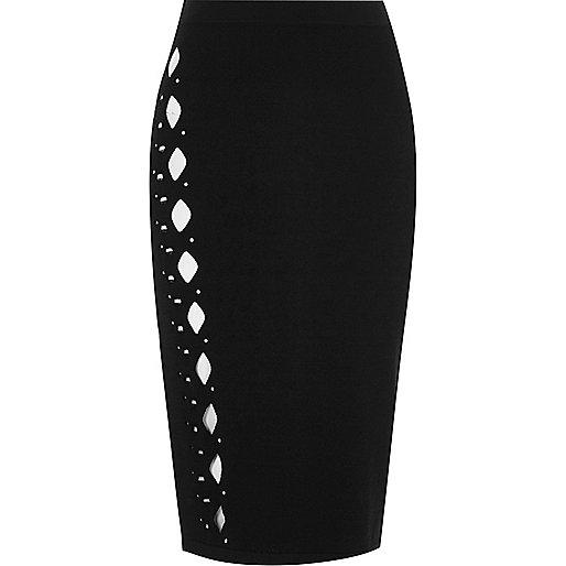 Black knit studded cut out midi skirt