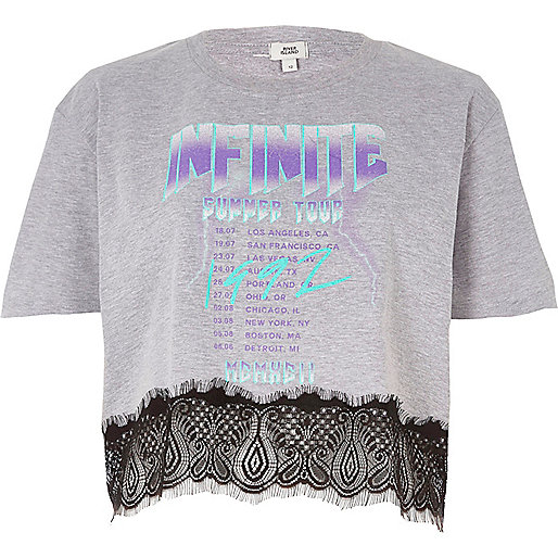 Grey 'Infinite' band print lace hem T-shirt