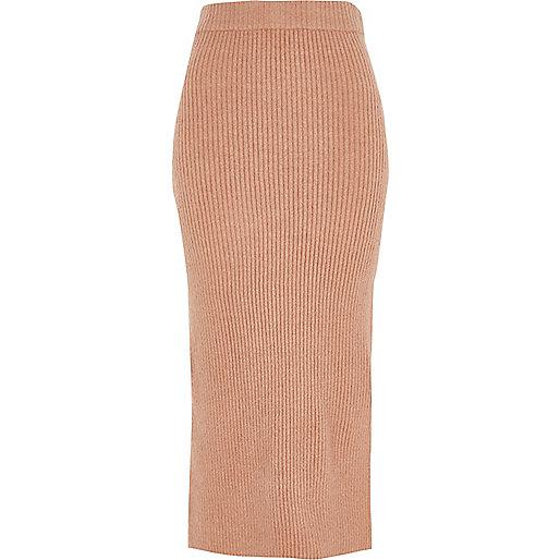 Pink rib knit side split midi skirt