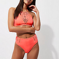 Coral laser cut high waisted bikini bottoms