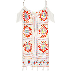 White cold shoulder embroidered dress