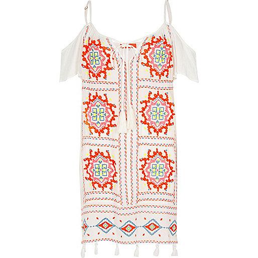 White cold shoulder embroidered dress
