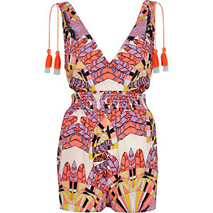 Purple feather print tassel beach playsuit